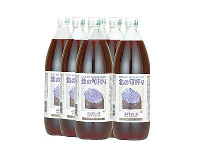 北の旬搾りぶどうジュース1リットル/6本入りケース